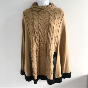 NWOT Nina Leonard Camel Poncho Knit Winter Sweater